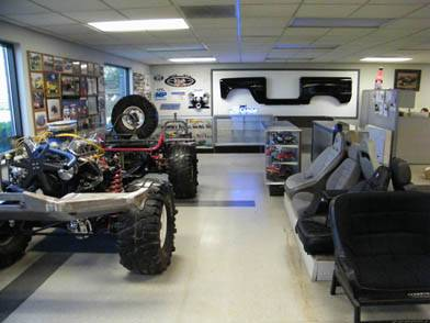 Our showroom Bronco chassis displaying many of the parts we sell.