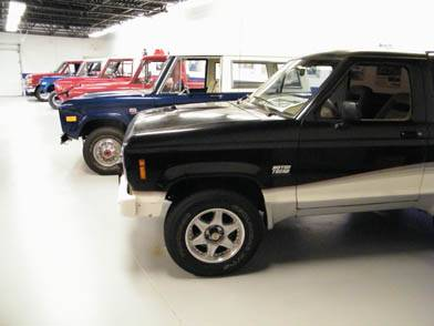 Classic Broncos lined up in our Bronco Museum.