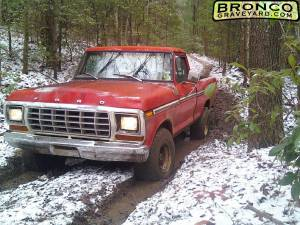 Old red in the snowy mud.