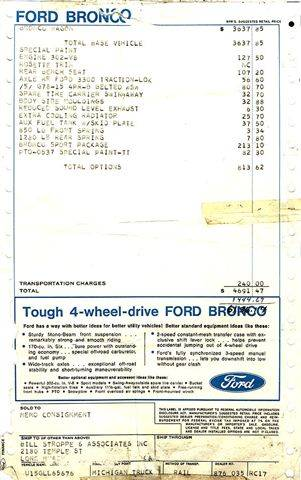 Original Ford Invoice