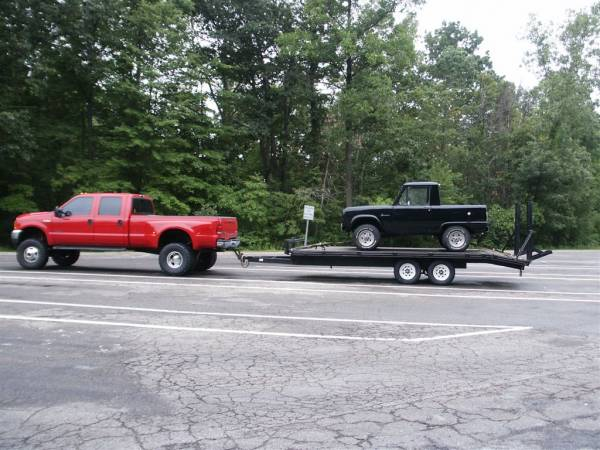 Mark towing Ted's 66 Half Cab that we helped build years ago